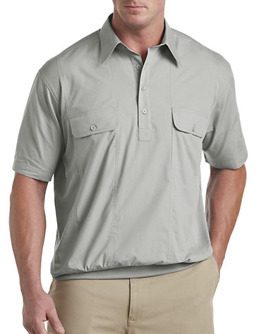 Banded-Bottom Mesh Panel Shirt