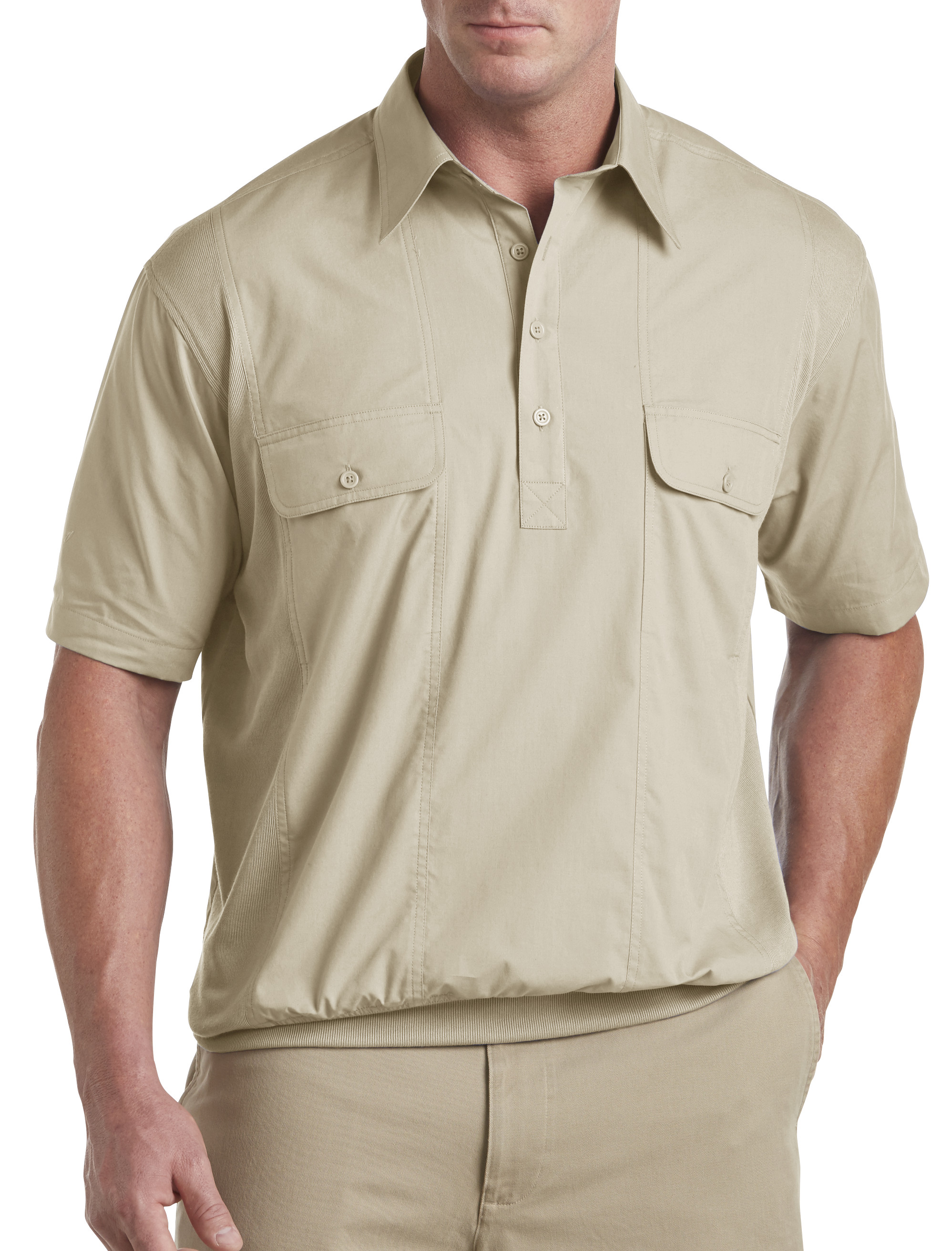 Canyon ridge banded bottom mesh panel shirt casual male xl for Big and tall casual shirts
