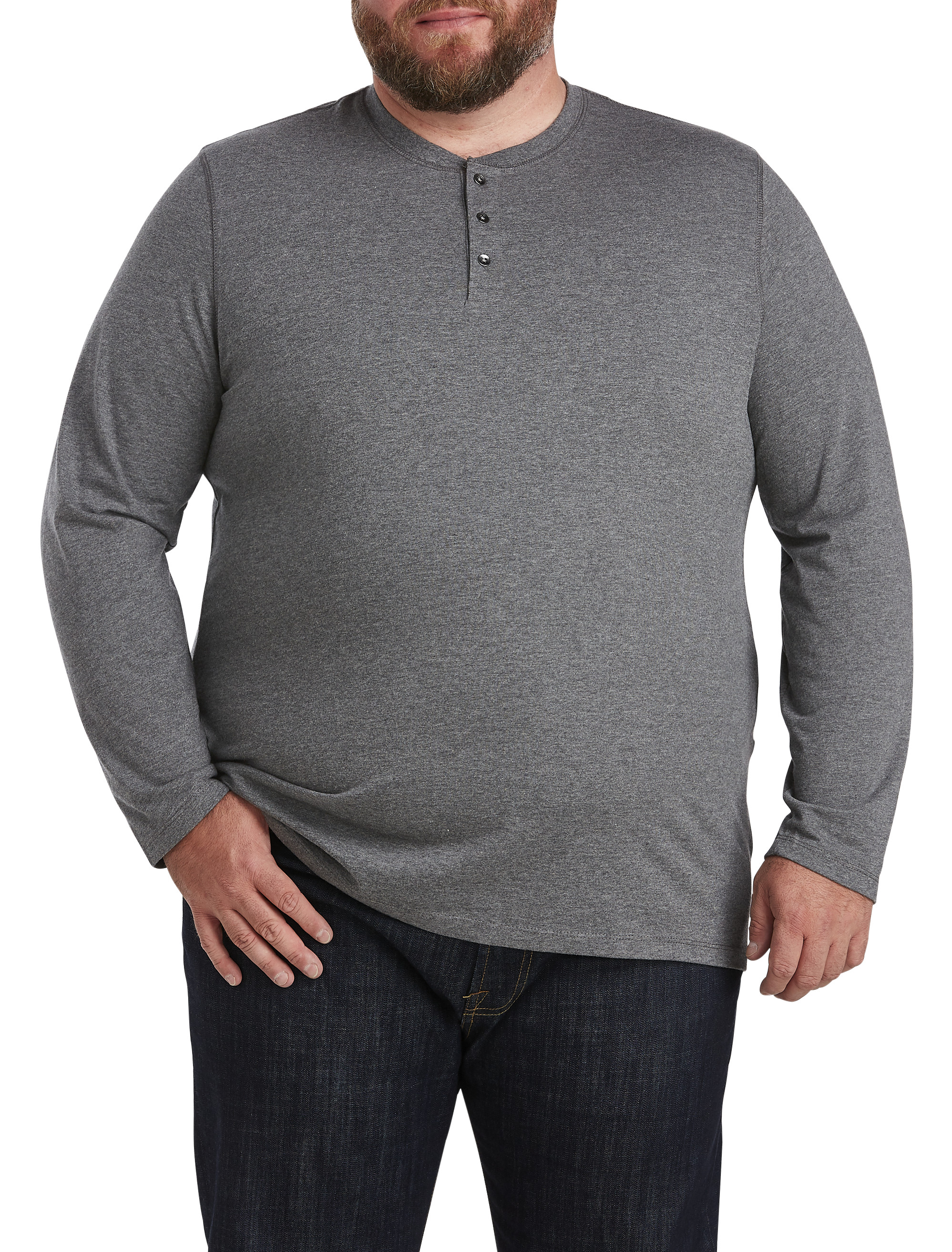 Harbor bay long sleeve wicking henley casual male xl big for Mens xl tall henley shirts