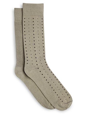 Harbor Bay® Continuous Comfort® 2-pk Diamond/Dot Dress Socks - Available in khaki