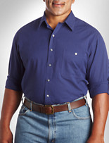 True Nation® Roll-Sleeve Bengal Stripe Sport Shirt