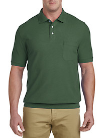 Harbor Bay® Banded-Bottom Piqué Polo