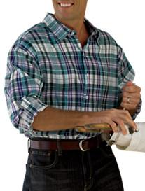 Oak Hill® Roll-Sleeve Plaid Linen Sport Shirt