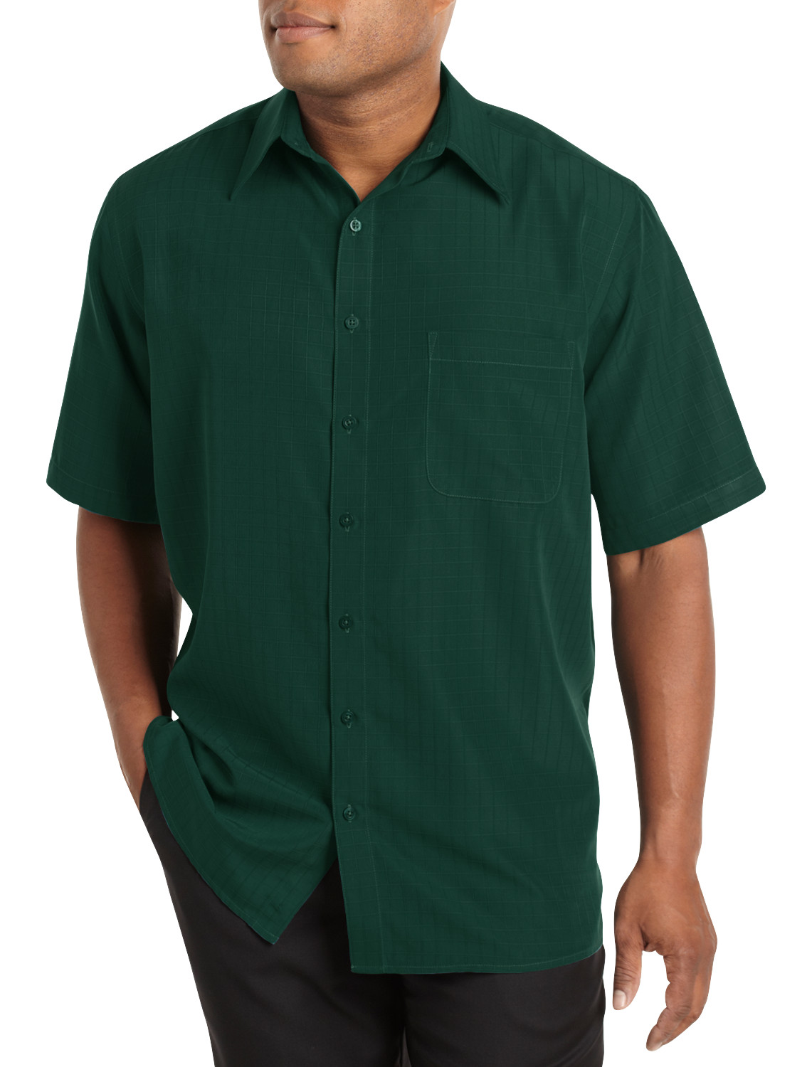 Harbor bay short sleeve microfiber sport shirt casual male for Big and tall casual shirts
