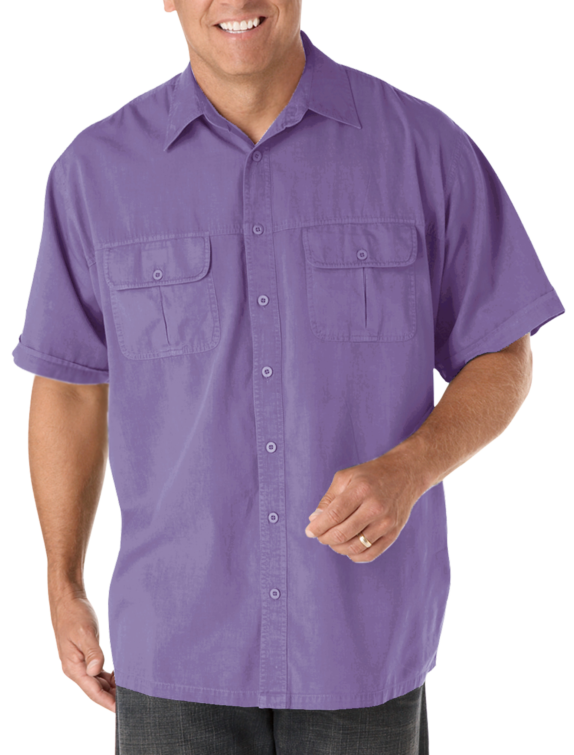Harbor bay short sleeve co pilot sport shirt casual male for Big and tall casual shirts
