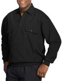Harbor Bay® Long-Sleeve Mesh Panel Banded-Bottom Shirt