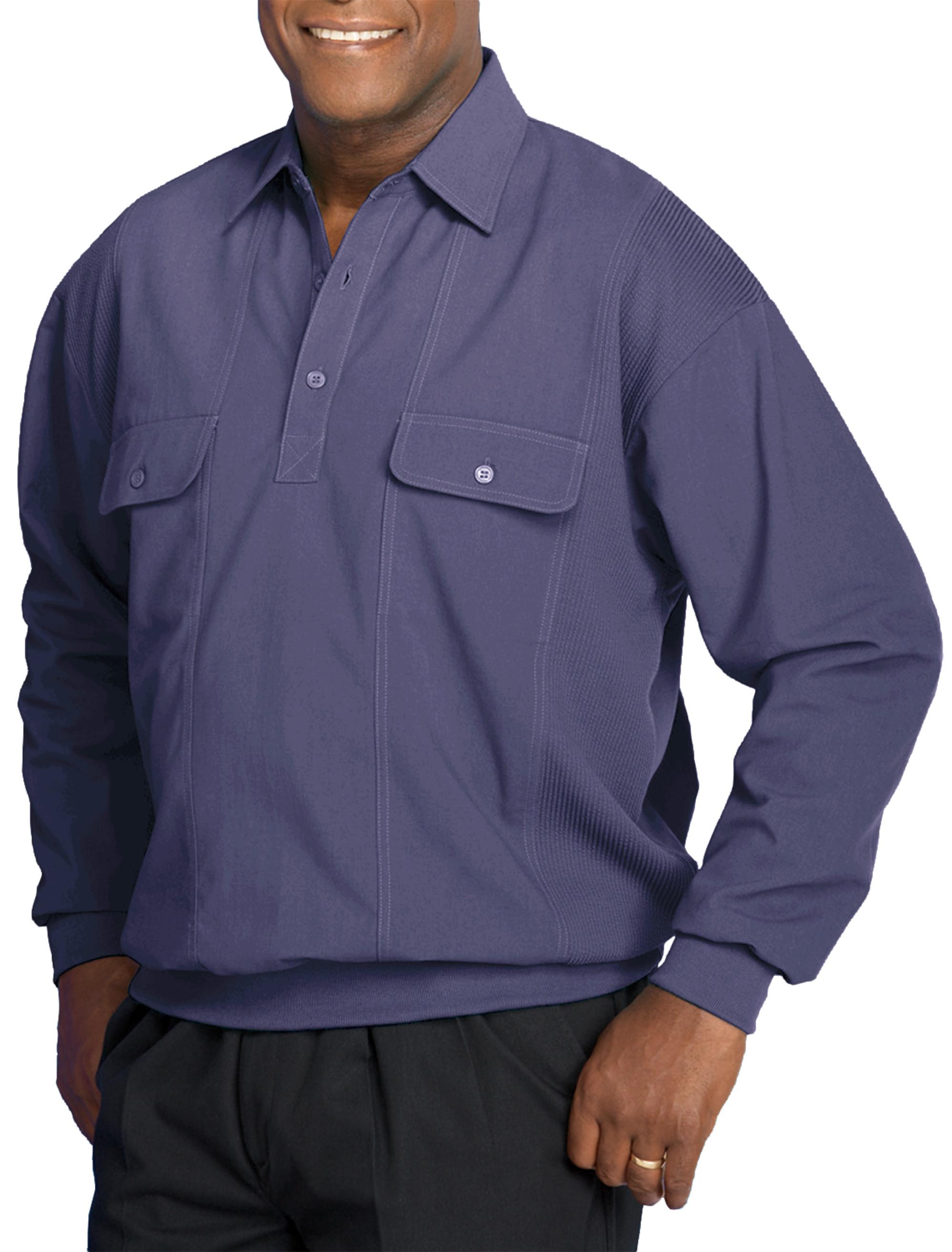 Harbor Bay Long Sleeve Mesh Panel Banded Bottom Shirt