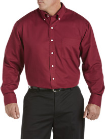 Oak Hill® Long-Sleeve Birdseye Solid Sport Shirt