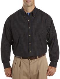 Harbor Bay® Long-Sleeve Grid-Patterned Sport Shirt