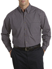 Harbor Bay® Long-Sleeve Easy-Care Mini Plaid Sport Shirt