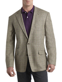 Oak Hill Jacket-Relaxer Glen Plaid Linen-Blend Sport Coat