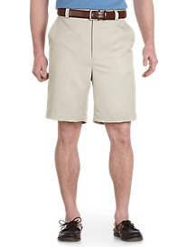 Oak Hill Flat-Front Waist-Relaxer Microfiber Shorts