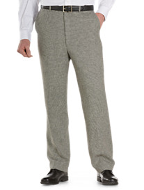Oak Hill® Houndstooth Linen-Blend Flat-Front Dress Pants
