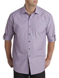 Synrgy® Roll-Sleeve Stripe Sport Shirt
