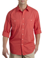 True Nation® Roll-Sleeve Washed Solid Sport Shirt