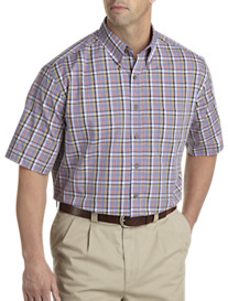 Harbor Bay® Easy-Care Large Plaid Short-Sleeve Sport Shirt