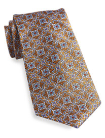 Gold Series Large Floral Medallion Silk Tie