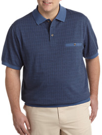 Harbor Bay® Short-Sleeve Herringbone Grid Banded Bottom