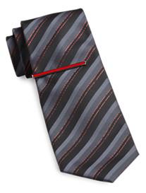 Gold Series Lurex Stripe Tie with Enamel Tie Bar