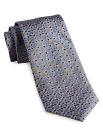 Gold Series Designed in Italy Small Floral Medallion Silk Tie