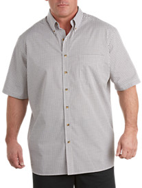 Harbor Bay® Short-Sleeve Easy-Care Small Plaid Sport Shirt