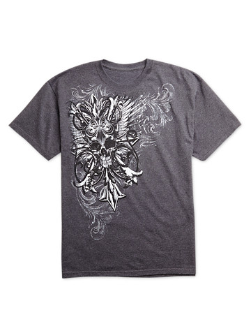 True Nation® Armor Wings Heraldic Screen Tee | Available in charcoal heather