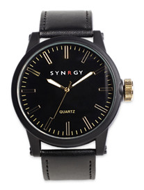Synrgy™ Black Watch with Leather Strap