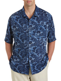 Island Passport® Tropical Palm Print Camp Shirt