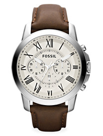 Fossil® Grant Chrono Leather Watch