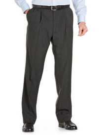 Palm Beach® Worsted Wool-Blend Pleated Trousers