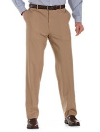 Palm Beach® Worsted Wool-Blend Flat-Front Trousers