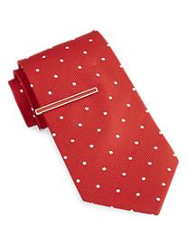 Gold Series Textured Dot Silk Tie with Enamel Tie Bar