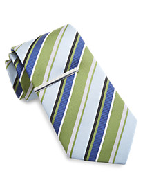 Gold Series Ribbon Stripe Silk Tie with Tie Bar