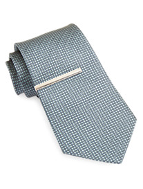 Gold Series Solid Silk Tie with Tie Bar