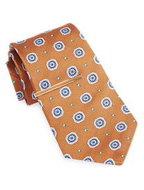 Gold Series Medallion Silk Tie with Enamel Tie Bar
