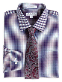 Enro® Non-Iron Poplin Check Dress Shirt