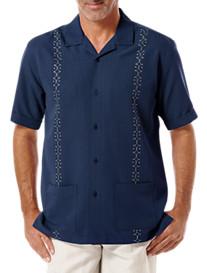 Cubavera® Geometric Embroidered Camp Shirt