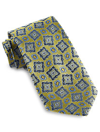 Gold Series Designed in Italy Contrast Medallion Silk Tie