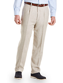 Oak Hill® Linen-Blend Pleated Suit Pants