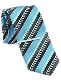 Gold Series Stripe Tie with Enamel Tie Bar