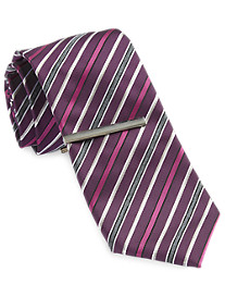 Gold Series Multi Stripe Tie with Enamel Tie Bar