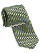 Gold Series Multi Dot Tie with Silvertone Tie Bar
