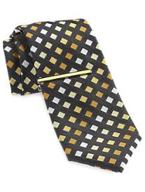 Gold Series Geo Silk Tie with Enamel Tie Bar
