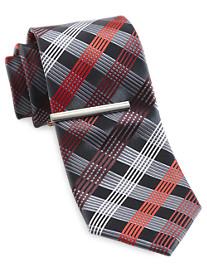 Gold Series Grid Silk Tie with Tie Bar