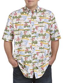 Harbor Bay® Aloha Sailboat-Print Sport Shirt