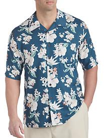 Island Passport® Faded Flower-Print Camp Shirt
