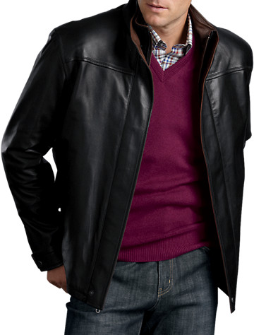 Remy Double-Collar Open-Hem Leather Bomber Jacket - $1495.00