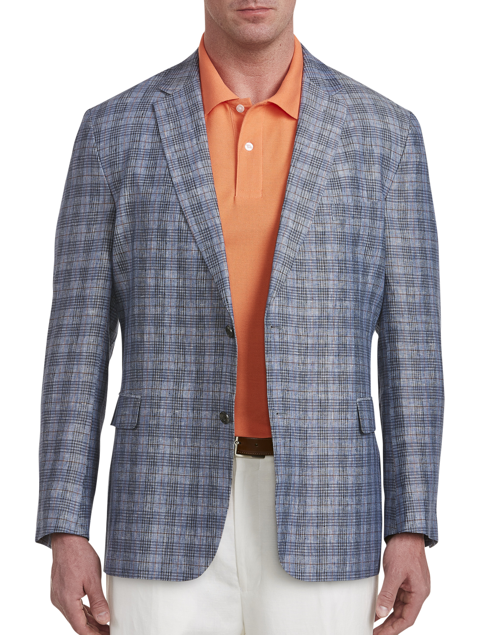 Jean-Paul Germain Deco Plaid Linen Sport Coat | Tuggl