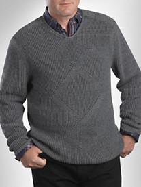 Cutter & Buck® Aberdeen Cable Argyle V-Neck Sweater