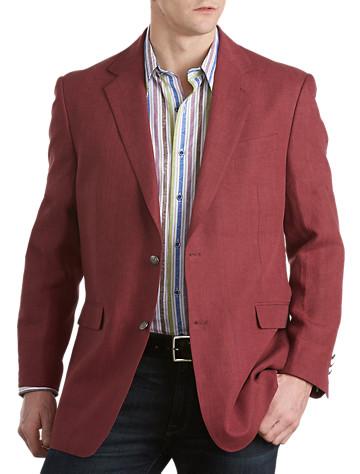 Tallia Orange Linen Metal-Button Blazer